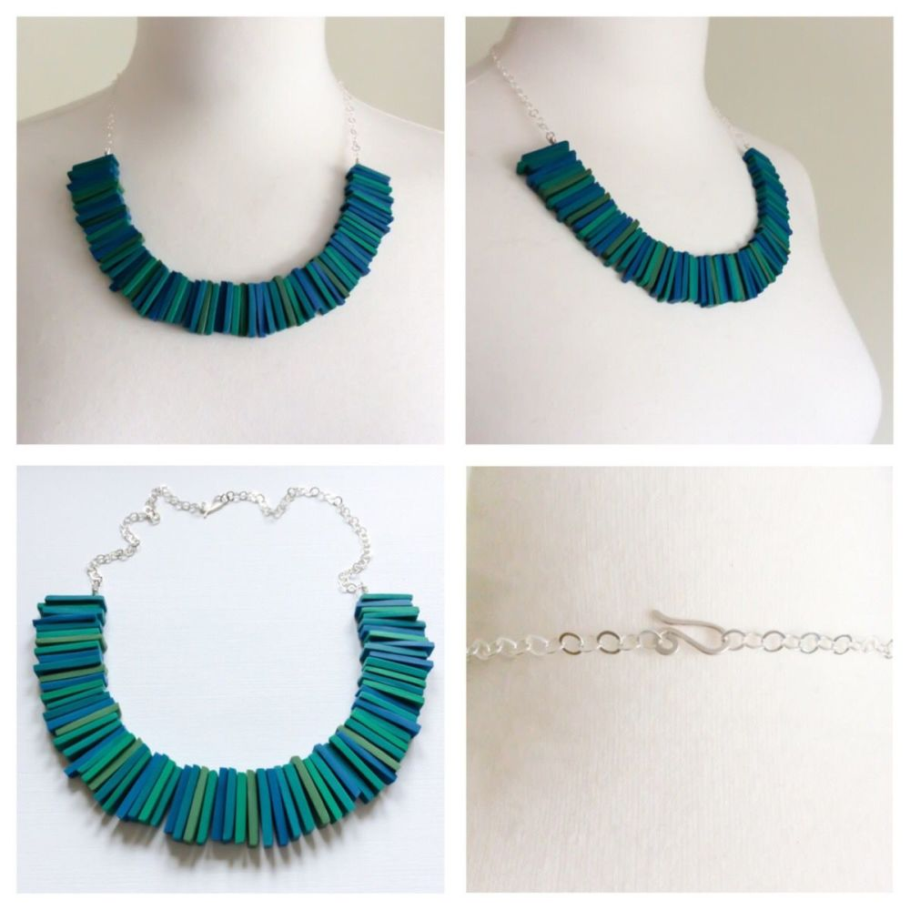 Deco necklace teal blue and green collage