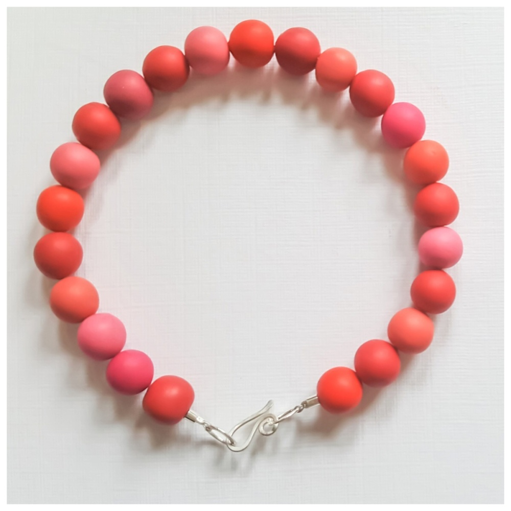 Coral Red Beaded Bracelet