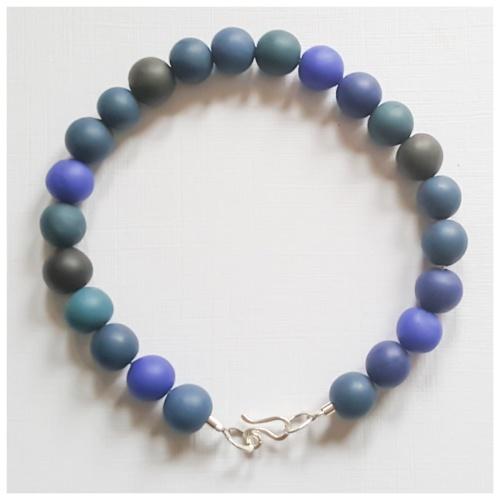 Dark Ink Blue Beaded Bracelet