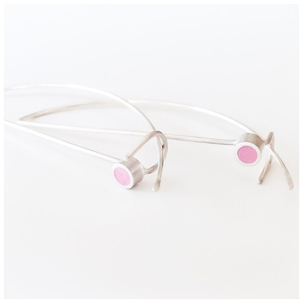 Sterling Silver Wire Colour Dot Earrings Raspberry
