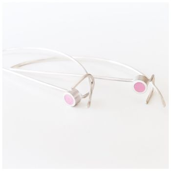 Colour Dot Sterling Silver Wire Earrings Raspberry