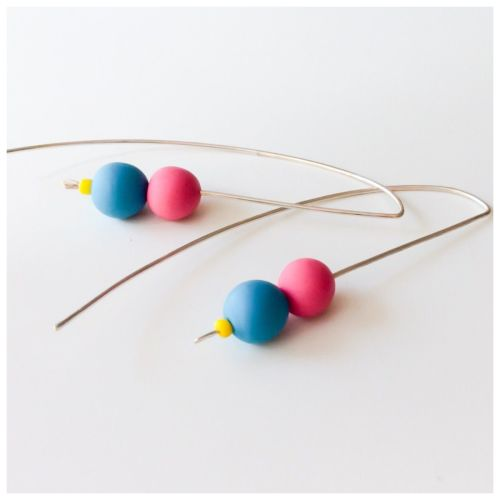Sterling Silver Wire Earrings Hot Pink and Blue Beads