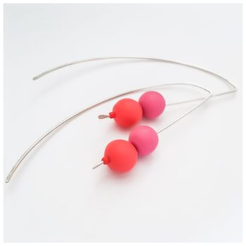 Sterling Silver Wire Earrings Coral and Pink Beads