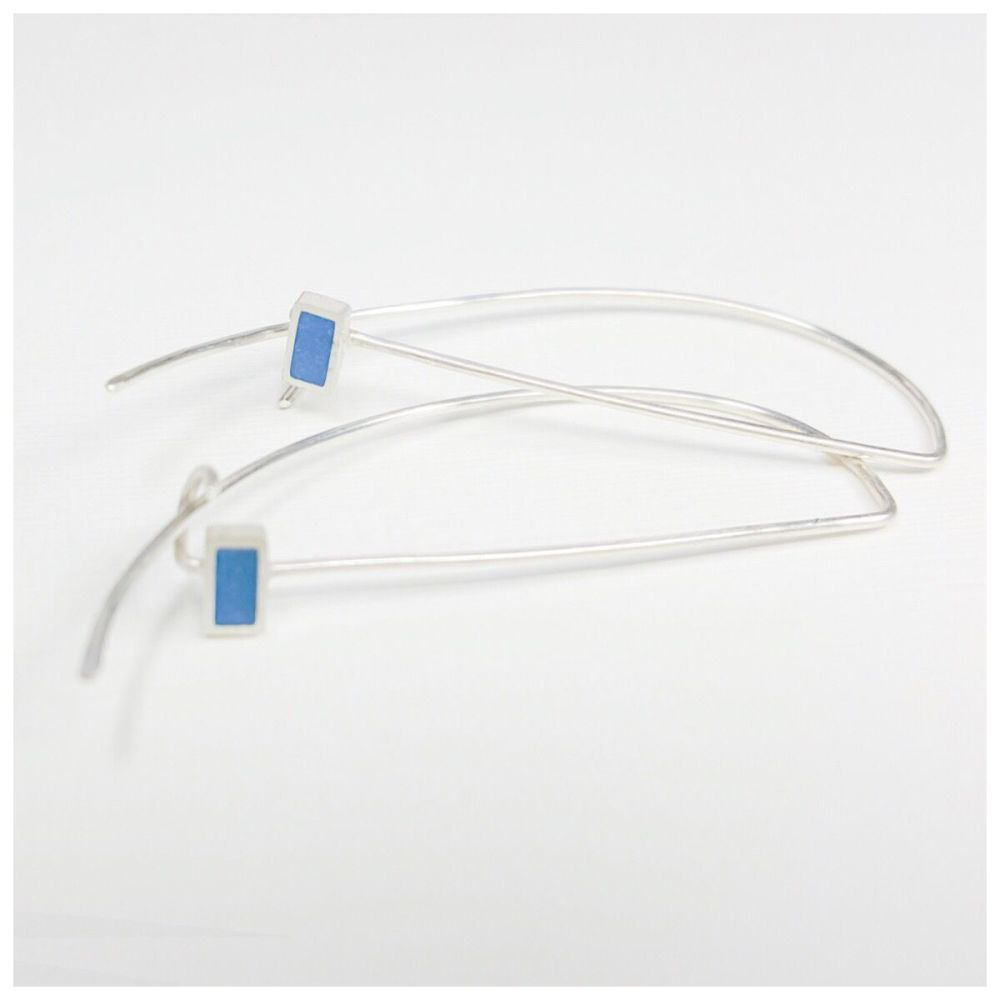 Sterling Silver Wire Colour Dot Earrings Blue