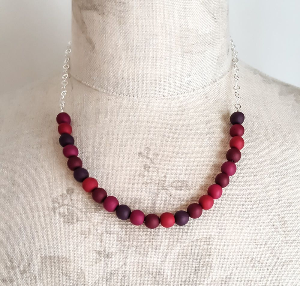 Beaded Sterling Silver Chain Necklace in Blackberry
