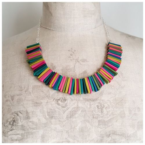 Modern Deco Necklace in Mustard, Green, Blue and Pink