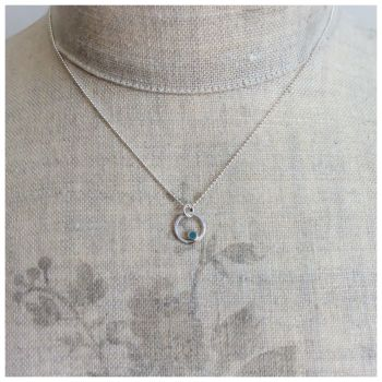 Tiny Dot Circle Pendant in Blue