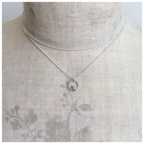 Tiny Dot Circle Pendant in Aqua Blue