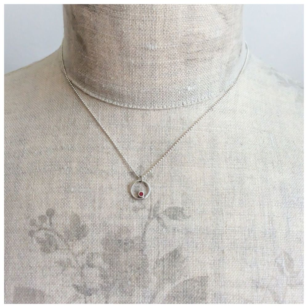 Tiny Dot Circle Pendant in Red