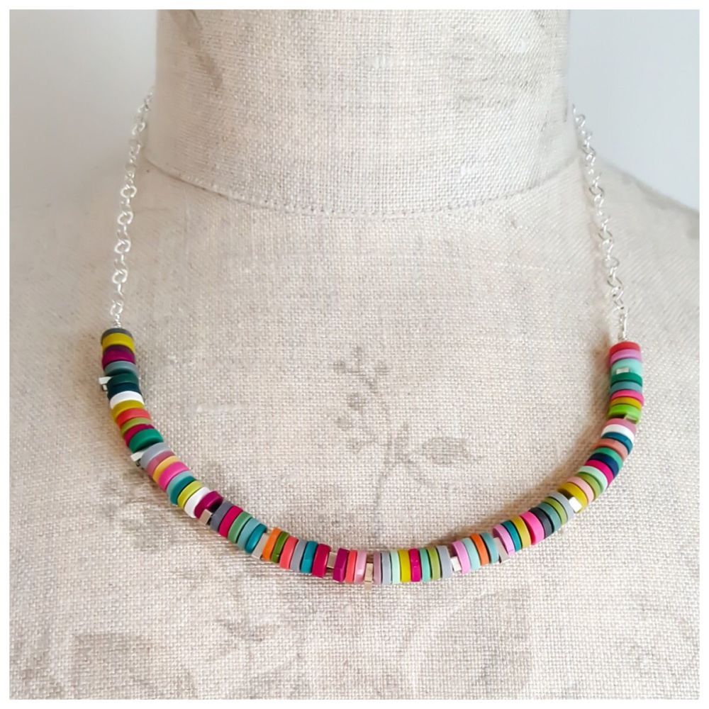 Multi Colour Tiny Disc Necklace with Sterling Silver Chain