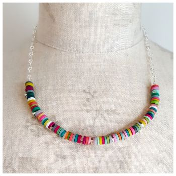 Tiny Disc Necklace in Multi Colours with Sterling Silver Chain