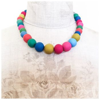 Graduated Bead Necklace in Multi Colours