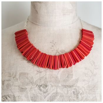 Modern Deco Necklace in Coral