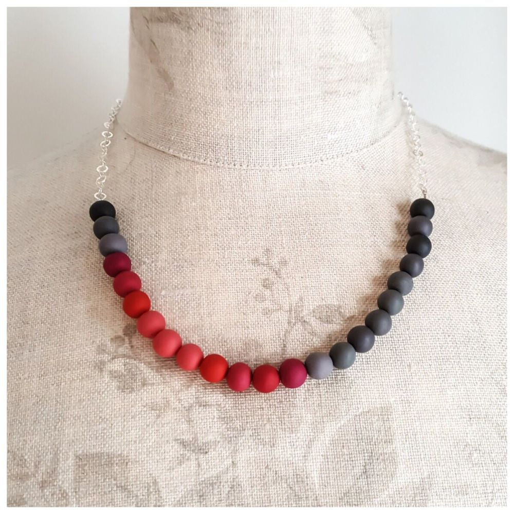 Beaded Sterling Silver Chain Necklace in Shades of Grey and Red