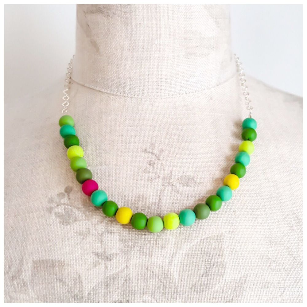 Beaded Sterling Silver Chain Necklace in Bright Greens