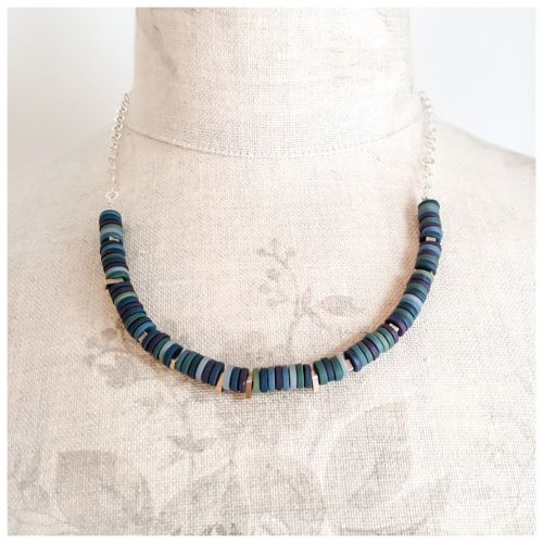 Tiny Disc Necklace in Deep Indigo Blues with Sterling Silver Chain