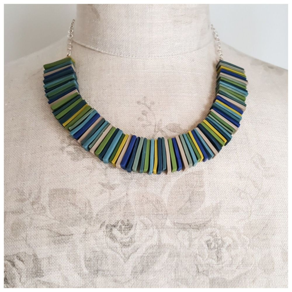 Modern Deco Necklace in Deep Blues, Greens and Mustard