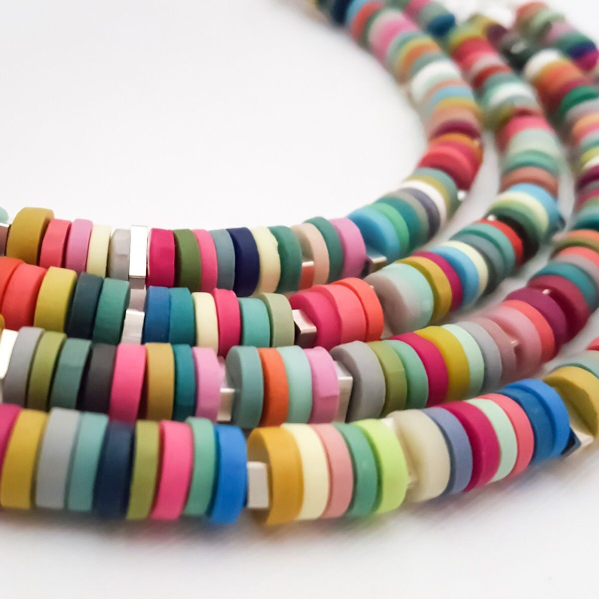 Multicoloured tiny disc bead necklace Colour Designs