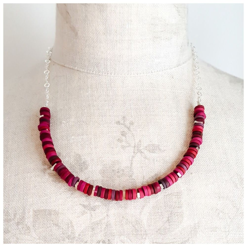 Tiny Disc Necklace in Deep Berry Reds with Sterling Silver Chain
