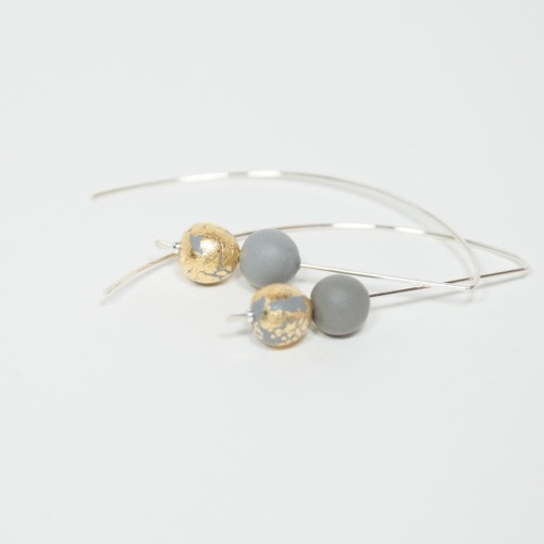 Sterling Silver Wire Earrings Grey and Gold Beads