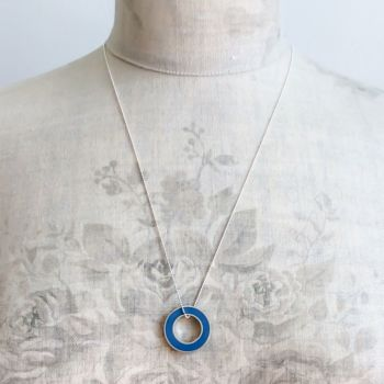 Colour Block Pendant Necklace in Blue
