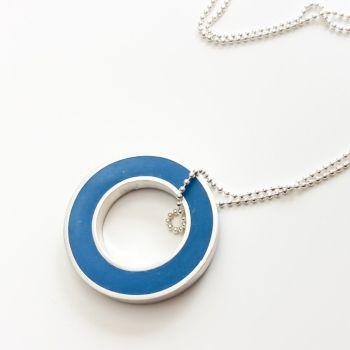 Colour Block Pendant Necklace in Blue