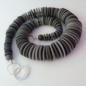 Graduated Disc Bead Necklace in Dark Greys