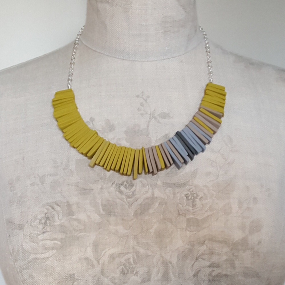 Modern Deco Necklace in Sulphur Yellow and Grey