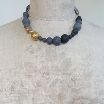 Random Bead Ribbon Tie Necklace in Grey and 24 Carat Gold