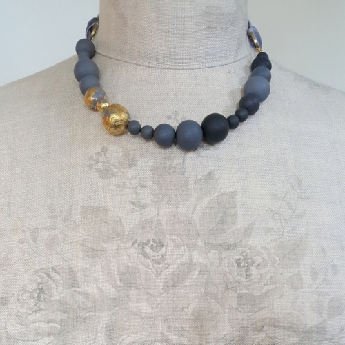 Random Bead Ribbon Tie Necklace in Grey and 24 Carat Gold