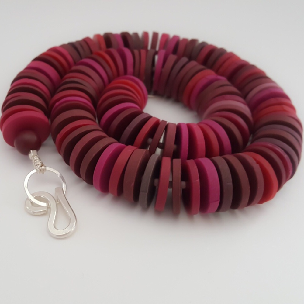 Large Disc Bead Necklace in Deep Berry Reds