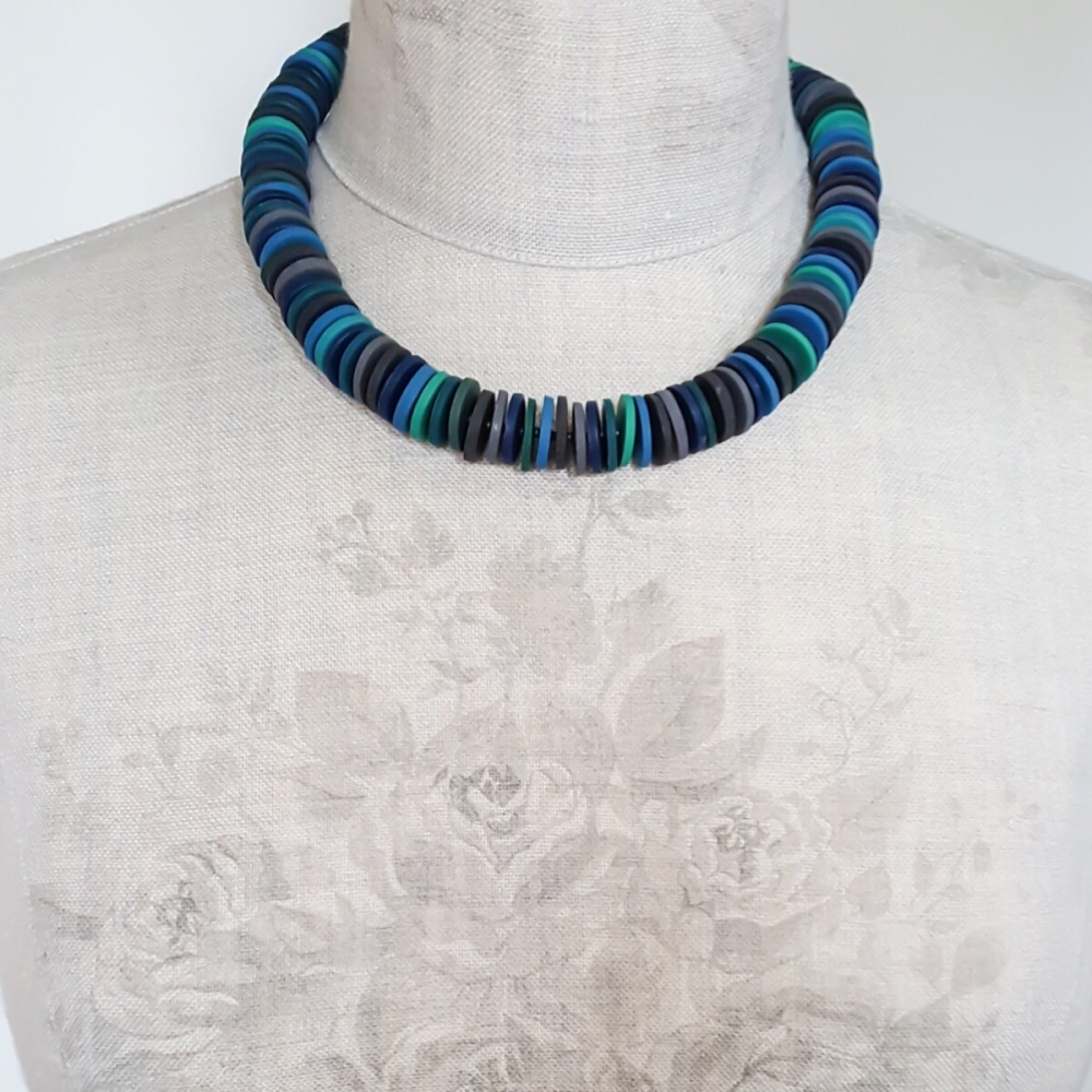 Large Disc Bead Necklace in Deep Teal and Lagoon Blue