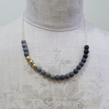 Beaded Sterling Silver Chain Necklace in Shades of Grey and 24 carat gold