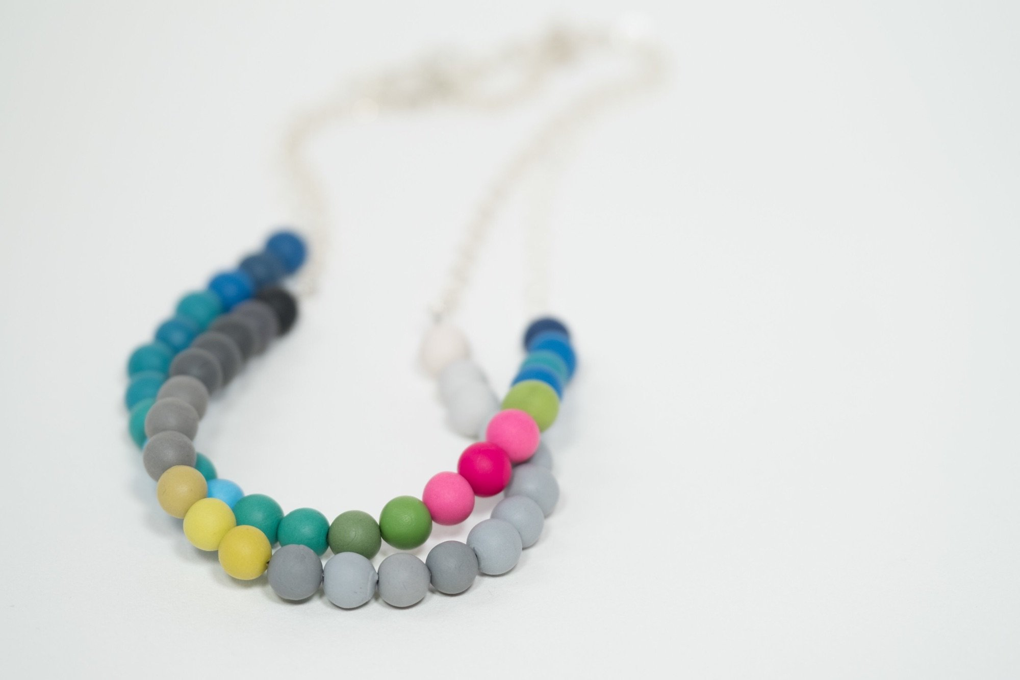 Handmade beaded polymer clay and sterling silver necklace by Colour Designs Jewellery