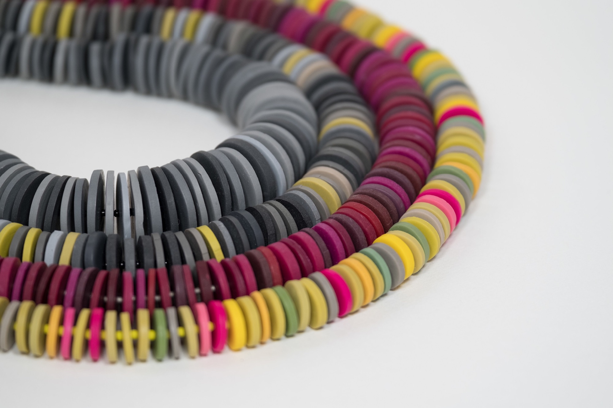 Multicoloured handmade disc necklaces by Colour Designs