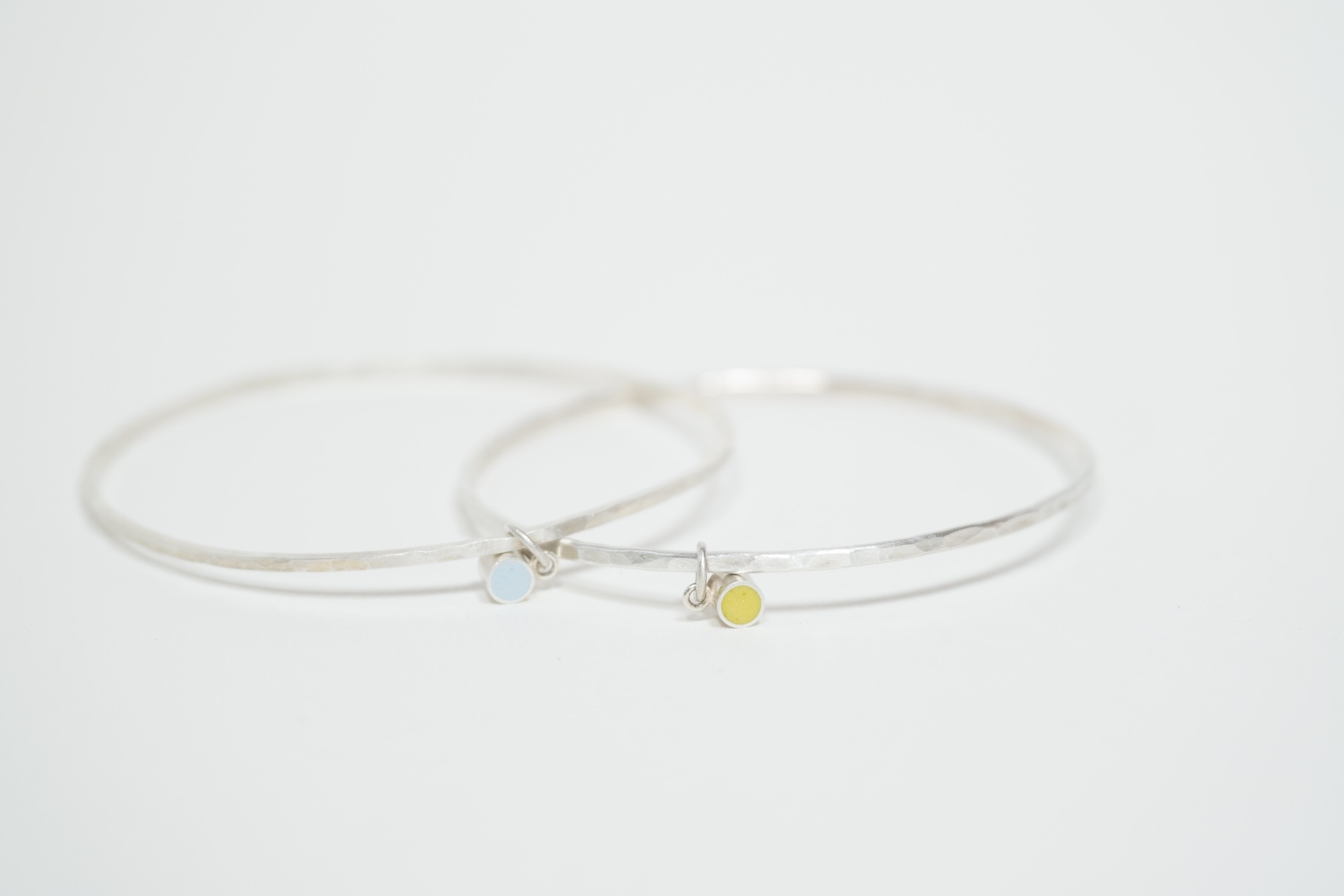 Colour Dot Charm Bangles Recycled Sterling Silver and Resin Clay by Colour Designs Jewellery