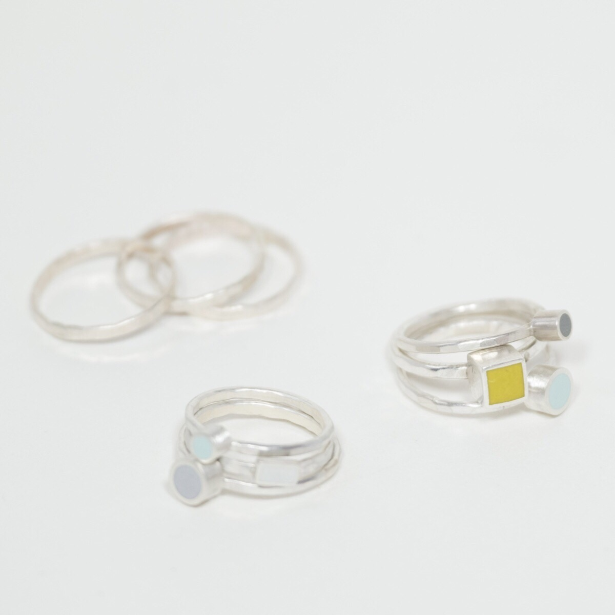 Recycled sterling silver and Colour Dot stacking rings by Colour Designs Jewellery