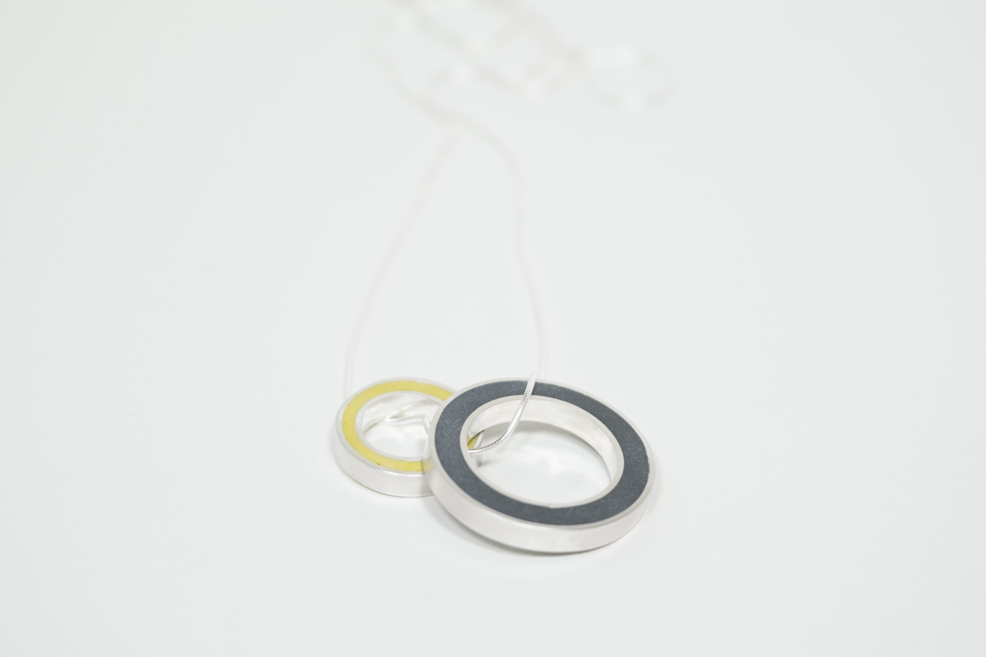 Black and Mustard Yellow Colour Block Circle Pendants by Colour Designs Jewellery