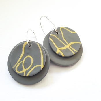 Giant Circle Earrings Grey and Mustard Squiggles