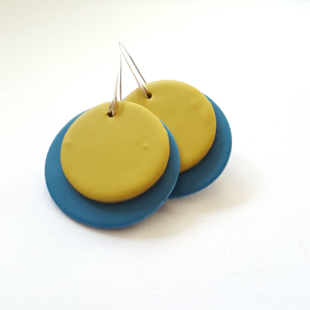 Giant Circle Earrings Teal and Mustard