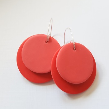 Giant Circle Earrings Tomato and Coral