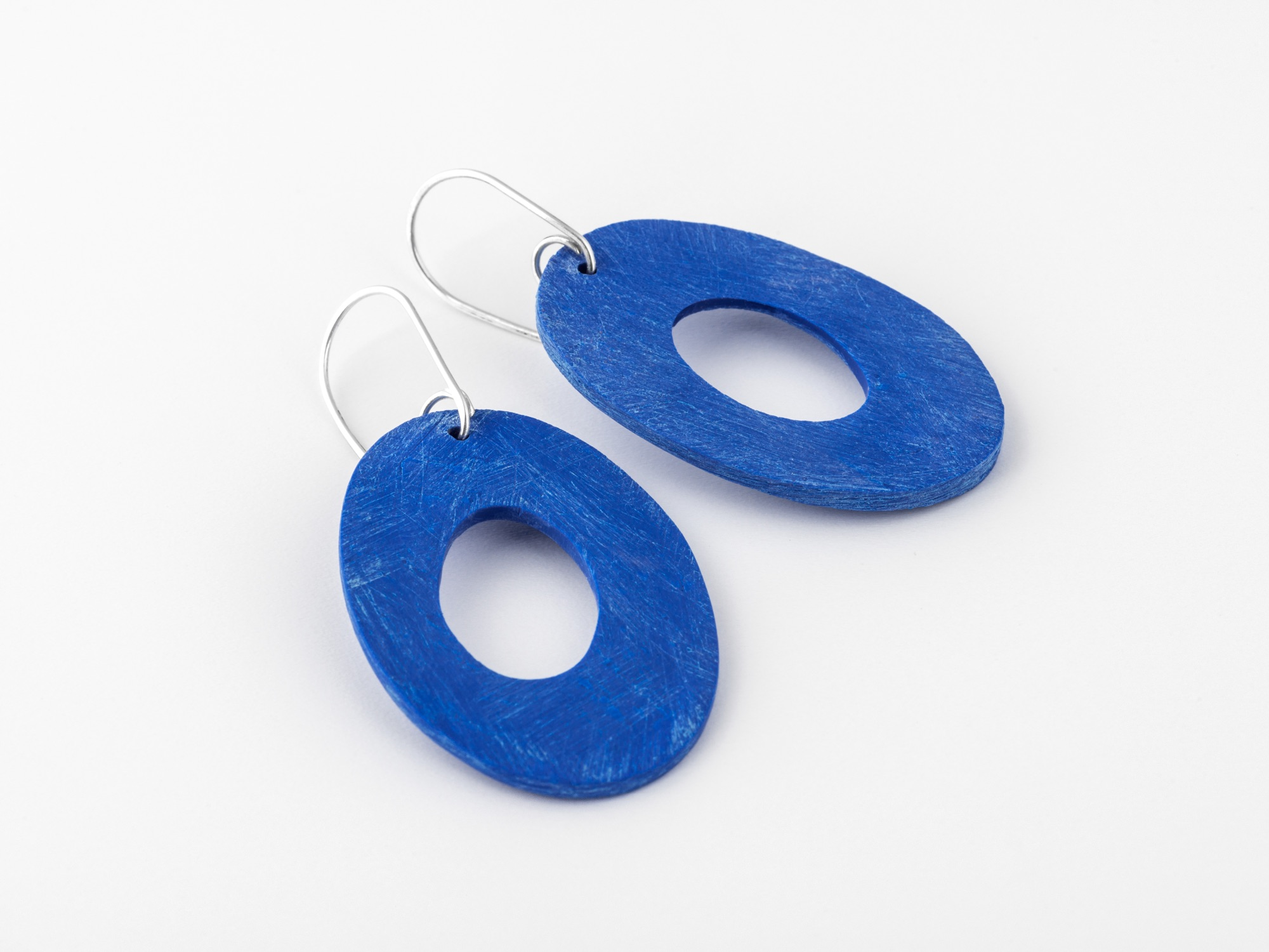 cobalt blue large oval earrings by Clare Lloyd