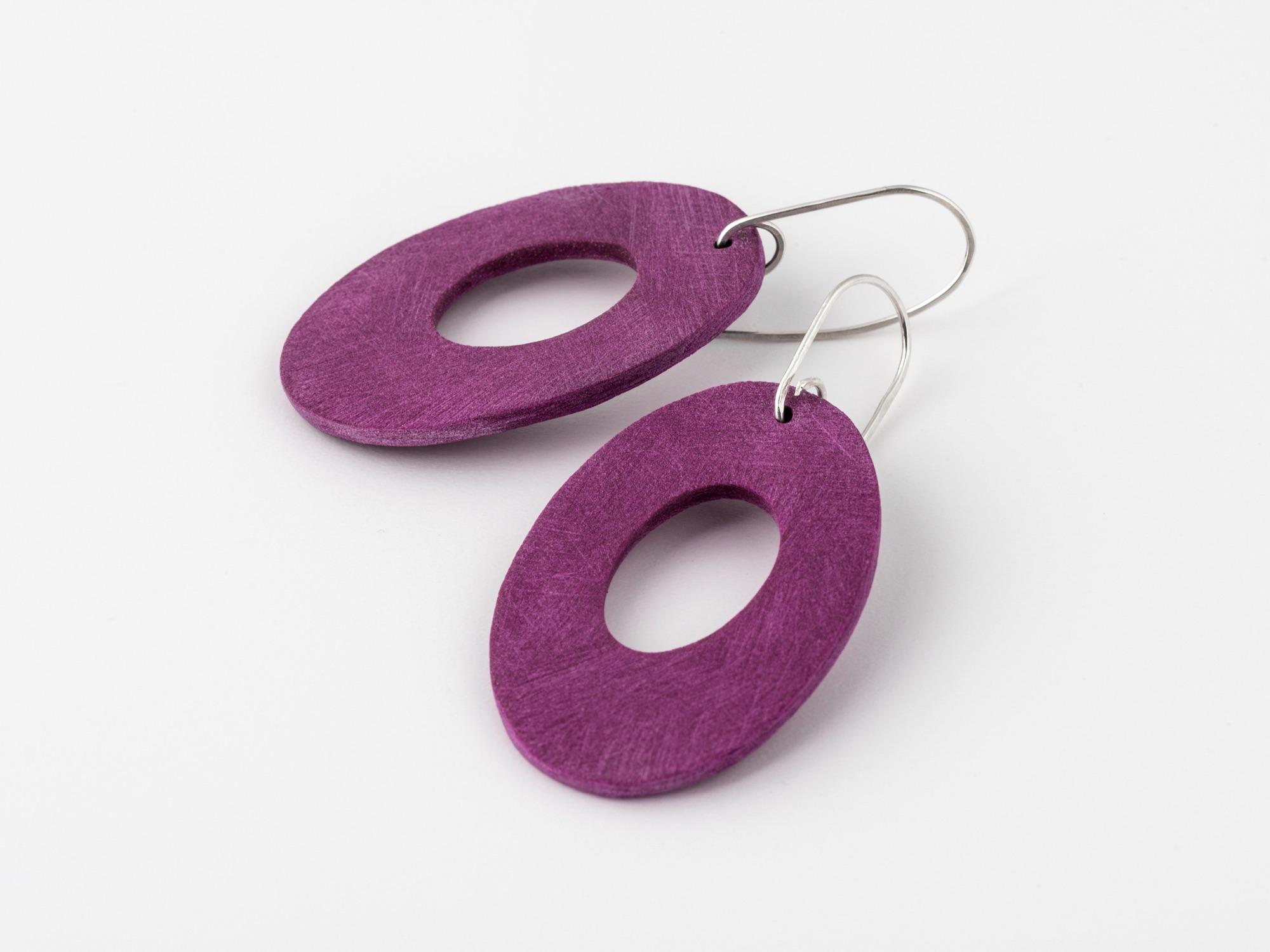 dark pink statement oval earrings by Clare Lloyd