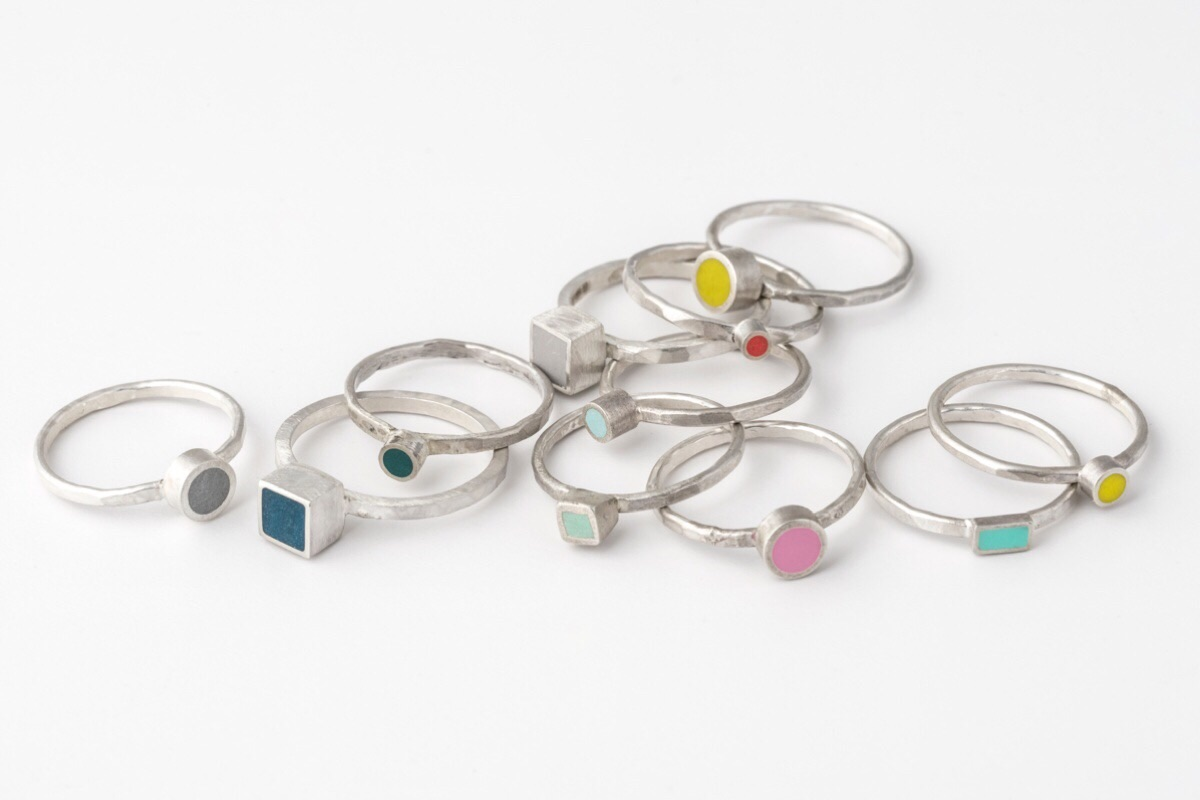 Colour Dot Silver stacking rings Colour Designs