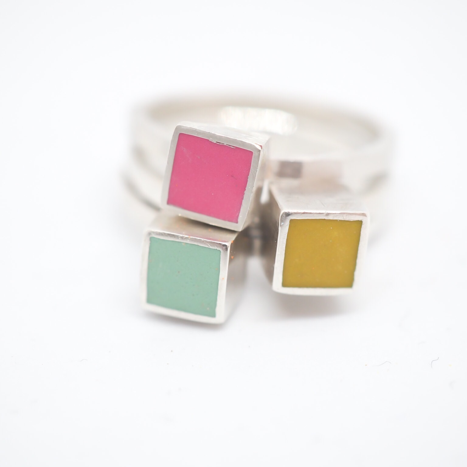statement silver and resin clay rings by Colour Designs