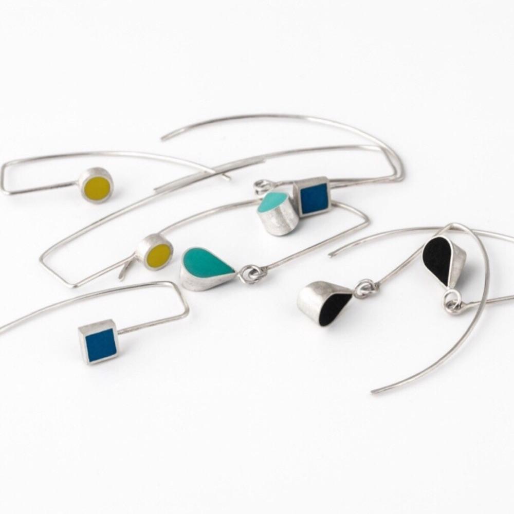 Colour Dot Sterling Silver Long Earrings