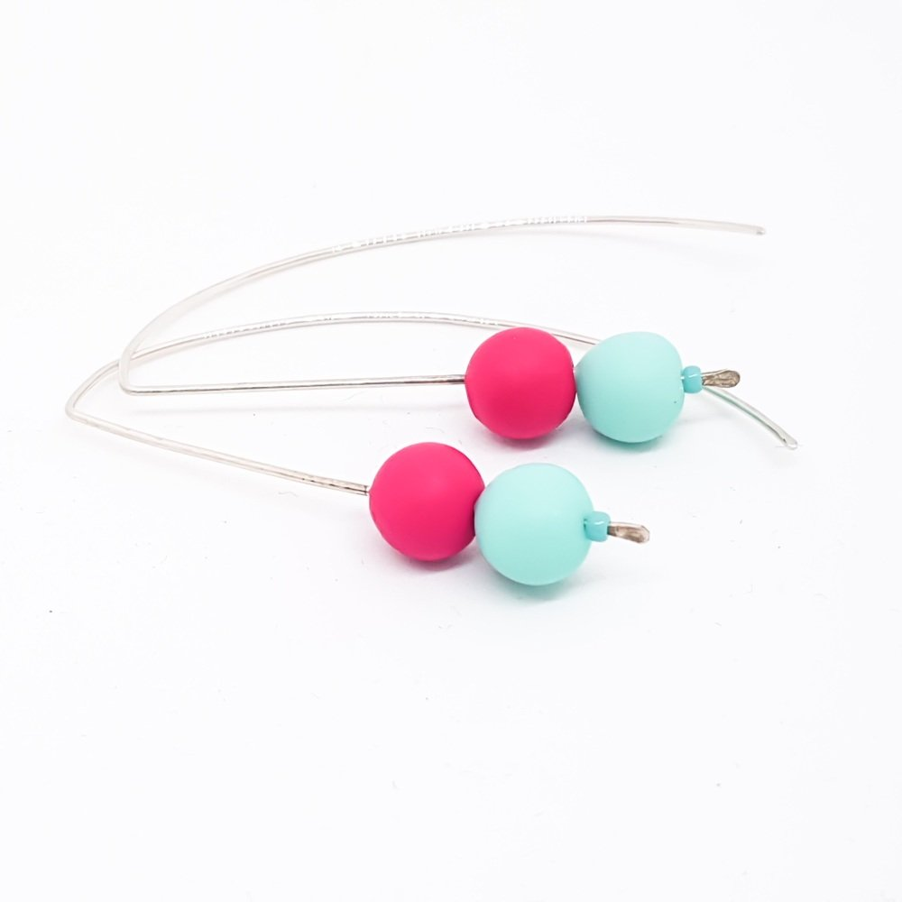 Sterling Silver Wire Earrings Aqua and Cerise Beads