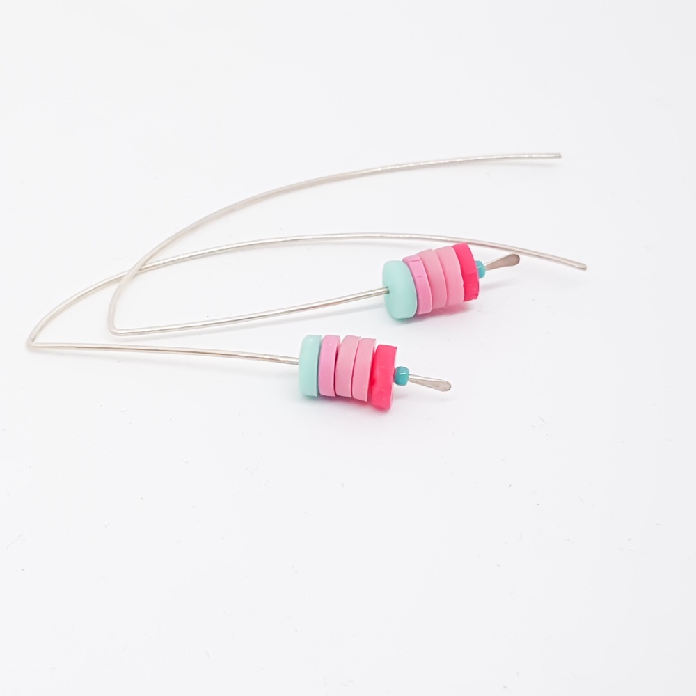 Sterling Silver Wire Earrings Aqua and Pink