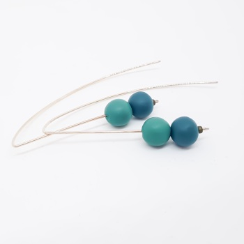 Duo Bead Sterling Silver Wire Earrings in Blue and Teal