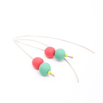 Duo Bead Sterling Silver Wire Earrings Jade and Coral